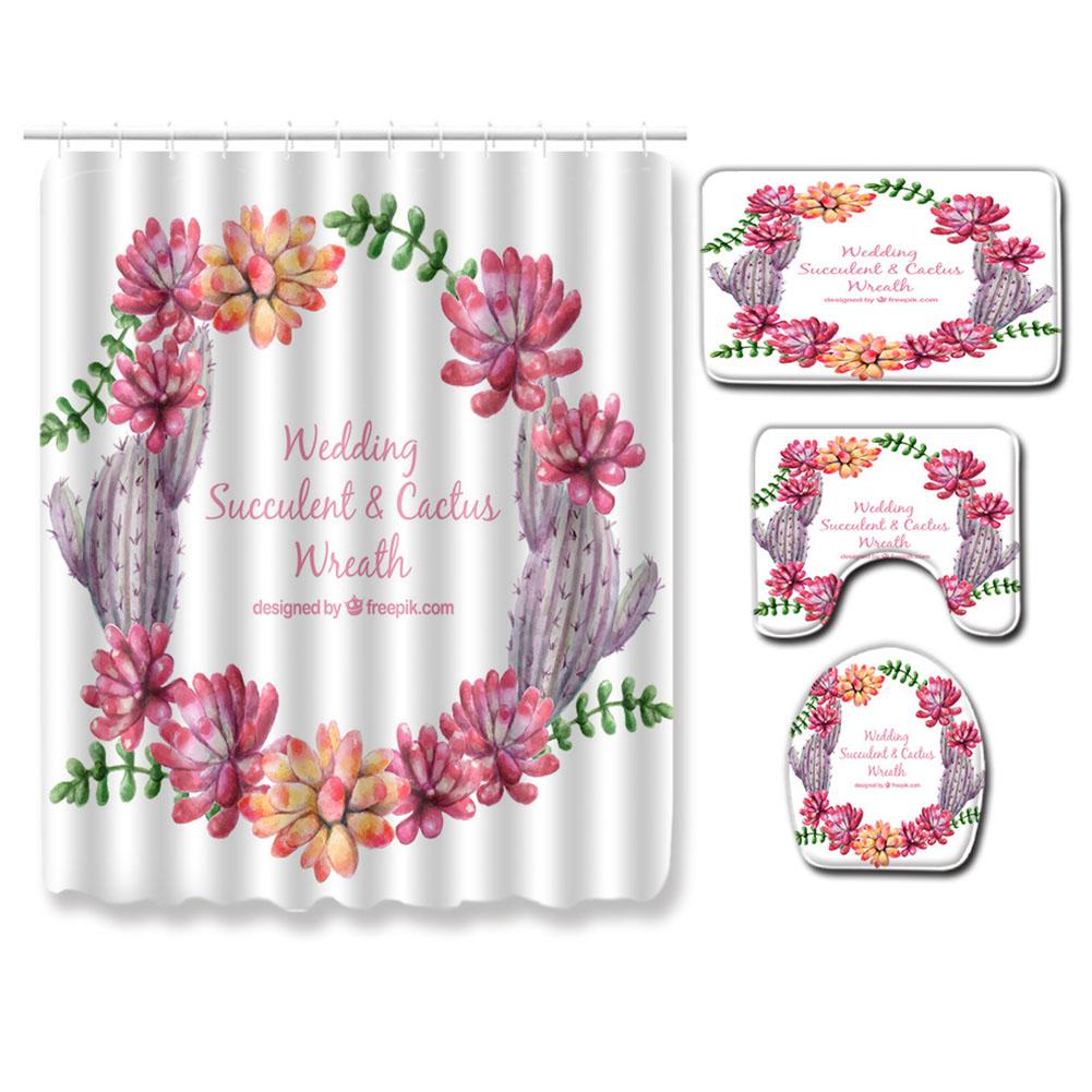 Succulent Plants Pattern Shower Curtain + Floor Mat +Toilet Seat Cover+ Foot Pad Set 180*180 shower curtain +45*75 three-piece floor mat set