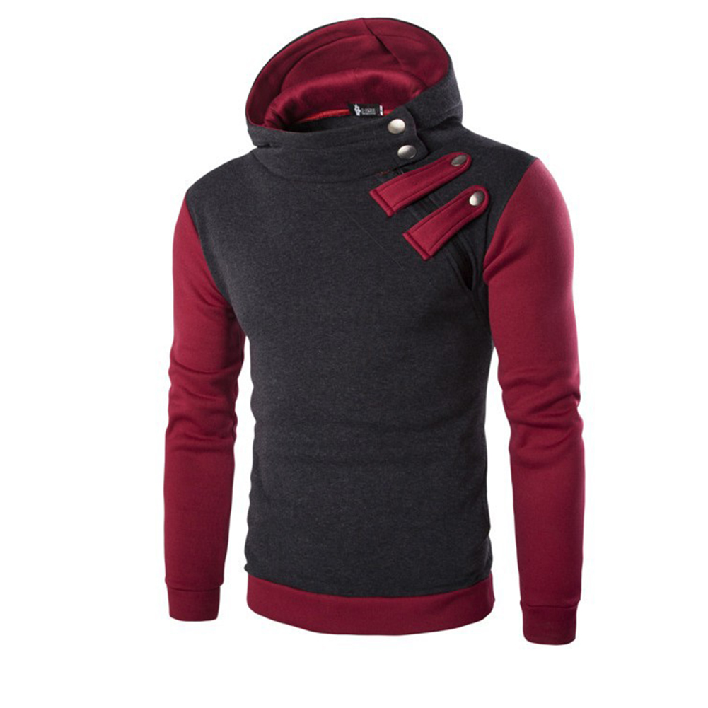 Men's Cause Hooded Slim Fit Cotton Long Sleeve Pullover Sweatershirt Tops Hoodies black_2XL