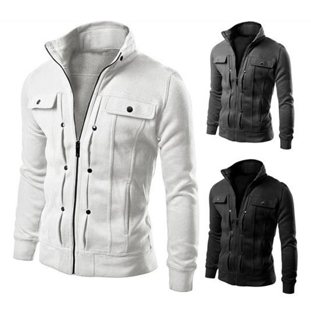 Long Sleeve Jacket Men Casual Mens Jackets And Coats  white_M