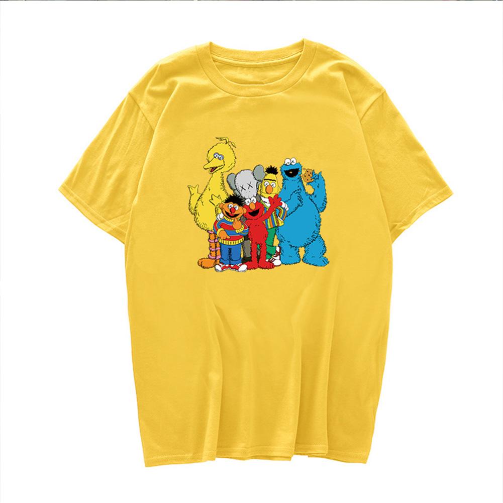 Boy Girl KAWS T-shirt Cartoon Animals Crew Neck Loose Couple Student Pullover Tops Yellow_M