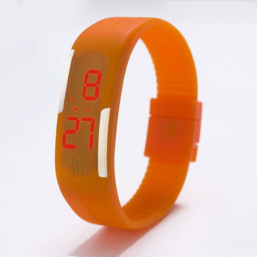 Fashion Top Brand Luxury Unisex Men's Watch Silicone Red LED Sport Watch Touch  Orange