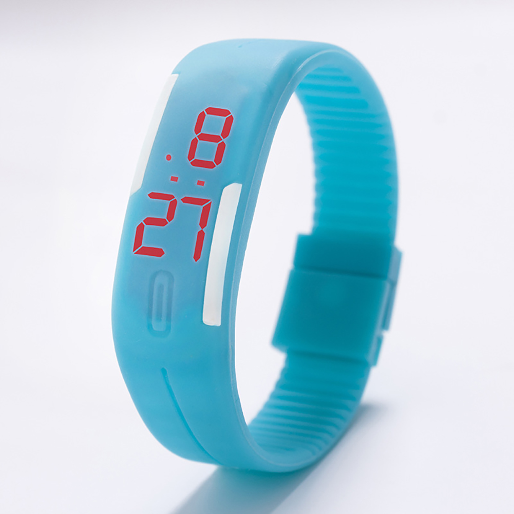Fashion Top Brand Luxury Unisex Men's Watch Silicone Red LED Sport Watch Touch  Sky blue
