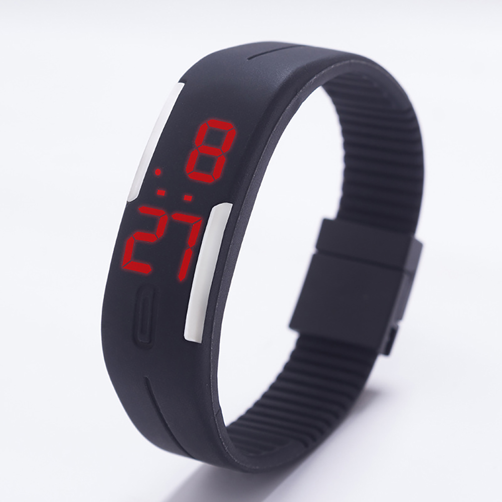 Fashion Top Brand Luxury Unisex Men's Watch Silicone Red LED Sport Watch Touch  black