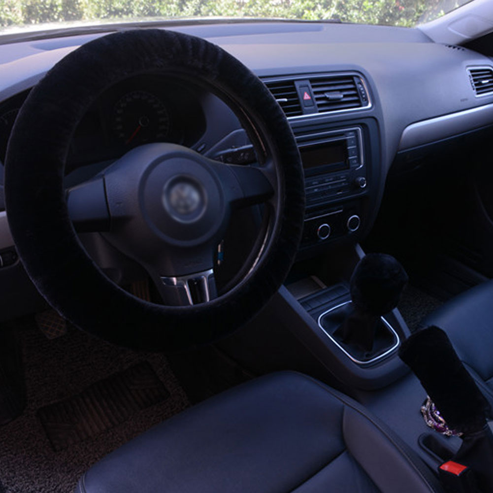 3pcs/set Car Plush Fashion Universal Steering  Wheel  Cover Plush Pull Handle black