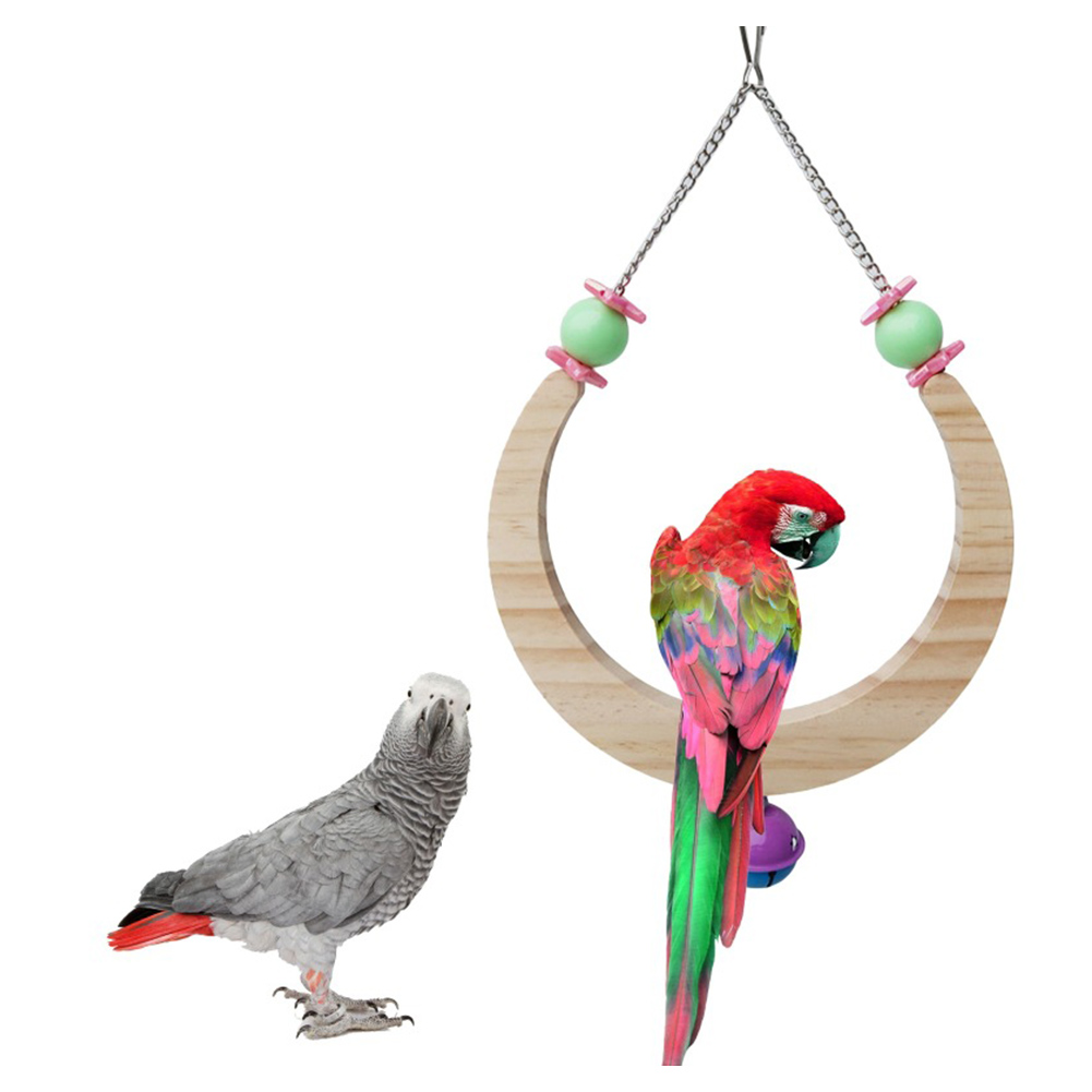 Wooden Moon-shaped Bell Interactive Swing Standing Ladder For Parrot Bird Toys large