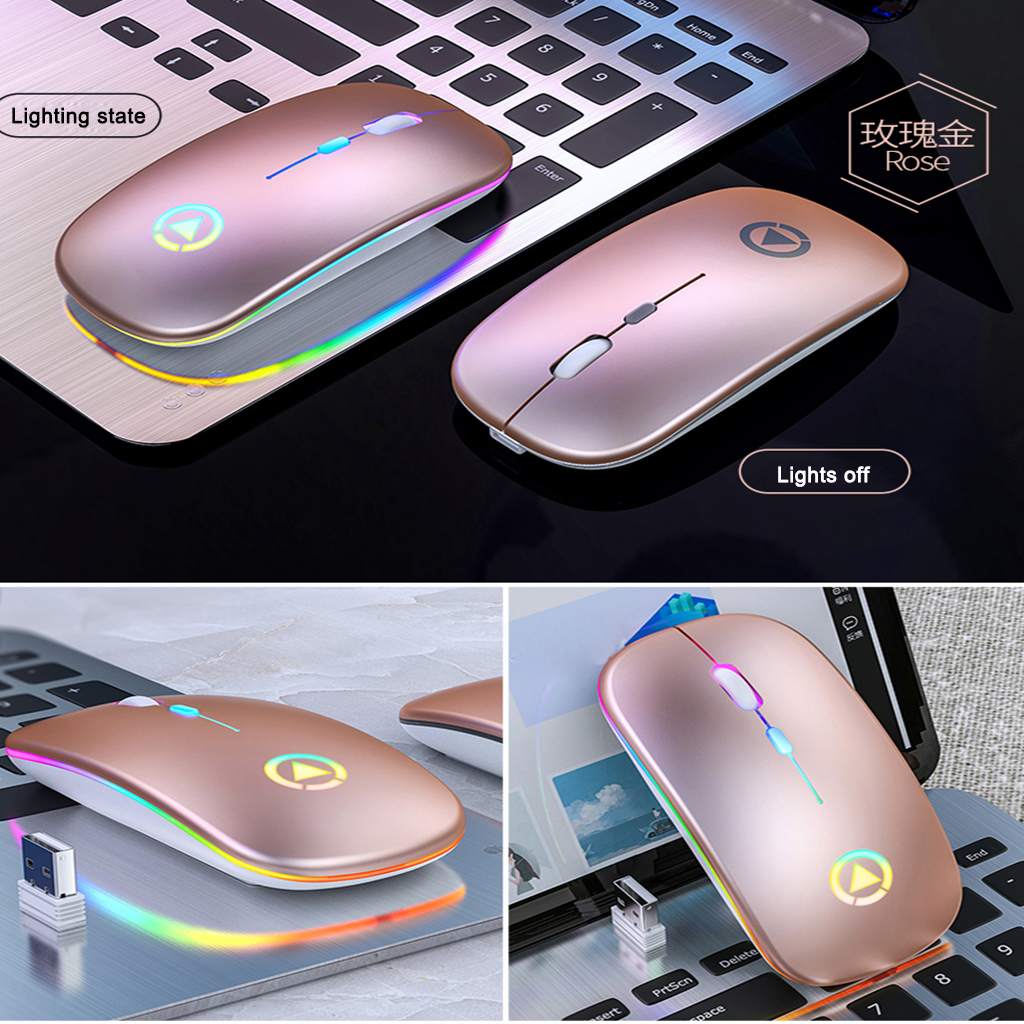 Wireless  Gaming  Mouse 2.4G Luminous Mouse For Pc Laptop Desktop Usb Recharing Pink