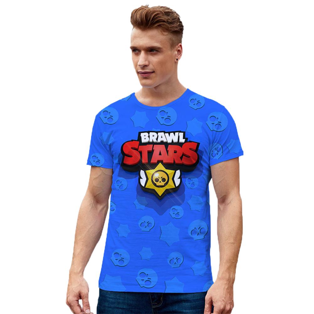 Unisex BRAWL STARS 3D Digital Letters Pattern Fashion Round Collar T-shirt A_L