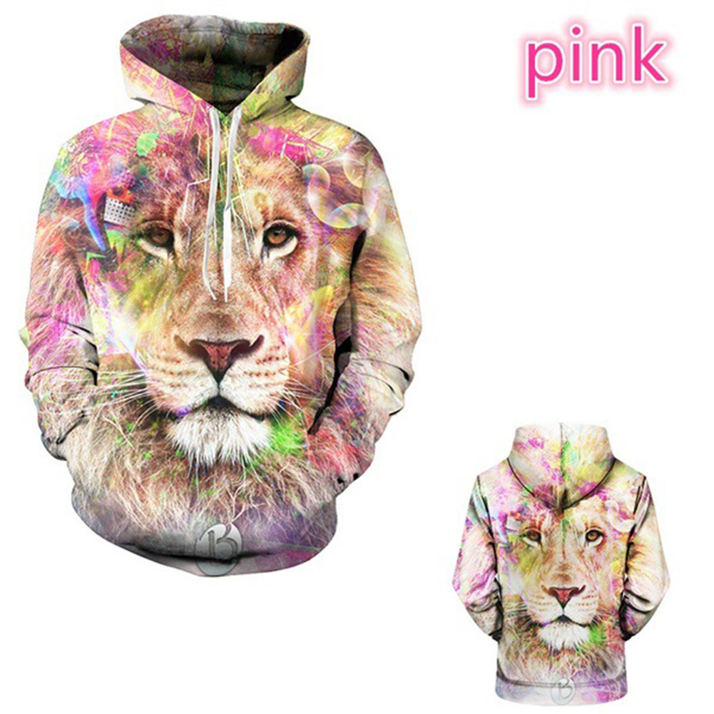 Men Women Lovers 3D Pink Lion Printing Baseball Uniform Hooded Sweatshirts Powder lion_M