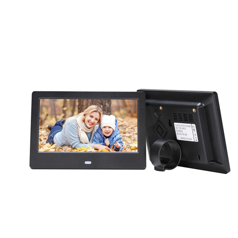 7 Inch HD LED Digital Screen Photo Frames 1024*600 Calendar/Alarm/Timer Switch /Video Player  Black US plug