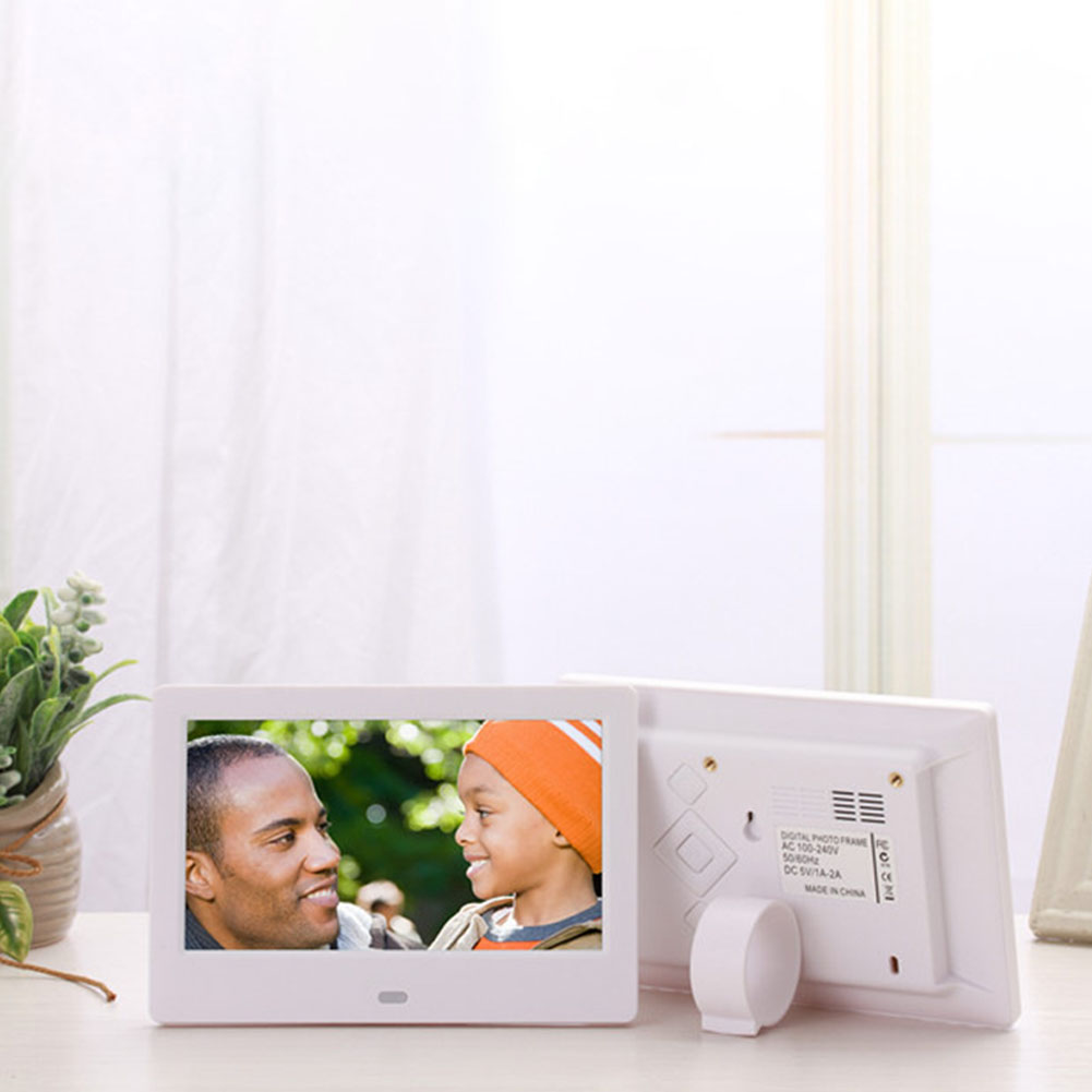 7 Inch HD LED Digital Screen Photo Frames 1024*600 Calendar/Alarm/Timer Switch /Video Player  White EU plug
