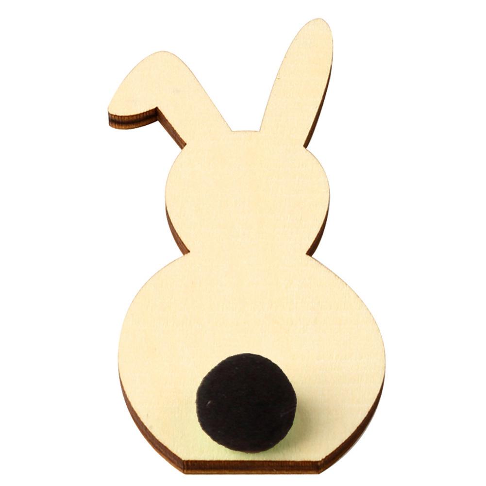 Wooden Cute Rabbit Shape DIY Easter Ornaments Kids Room Decoration Photography Props JM01170 black