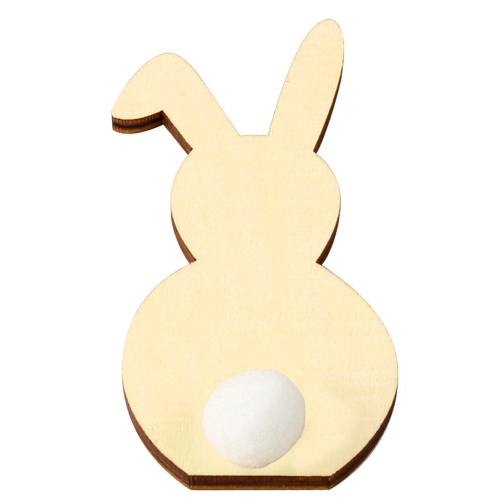 Wooden Cute Rabbit Shape DIY Easter Ornaments Kids Room Decoration Photography Props JM01168 white
