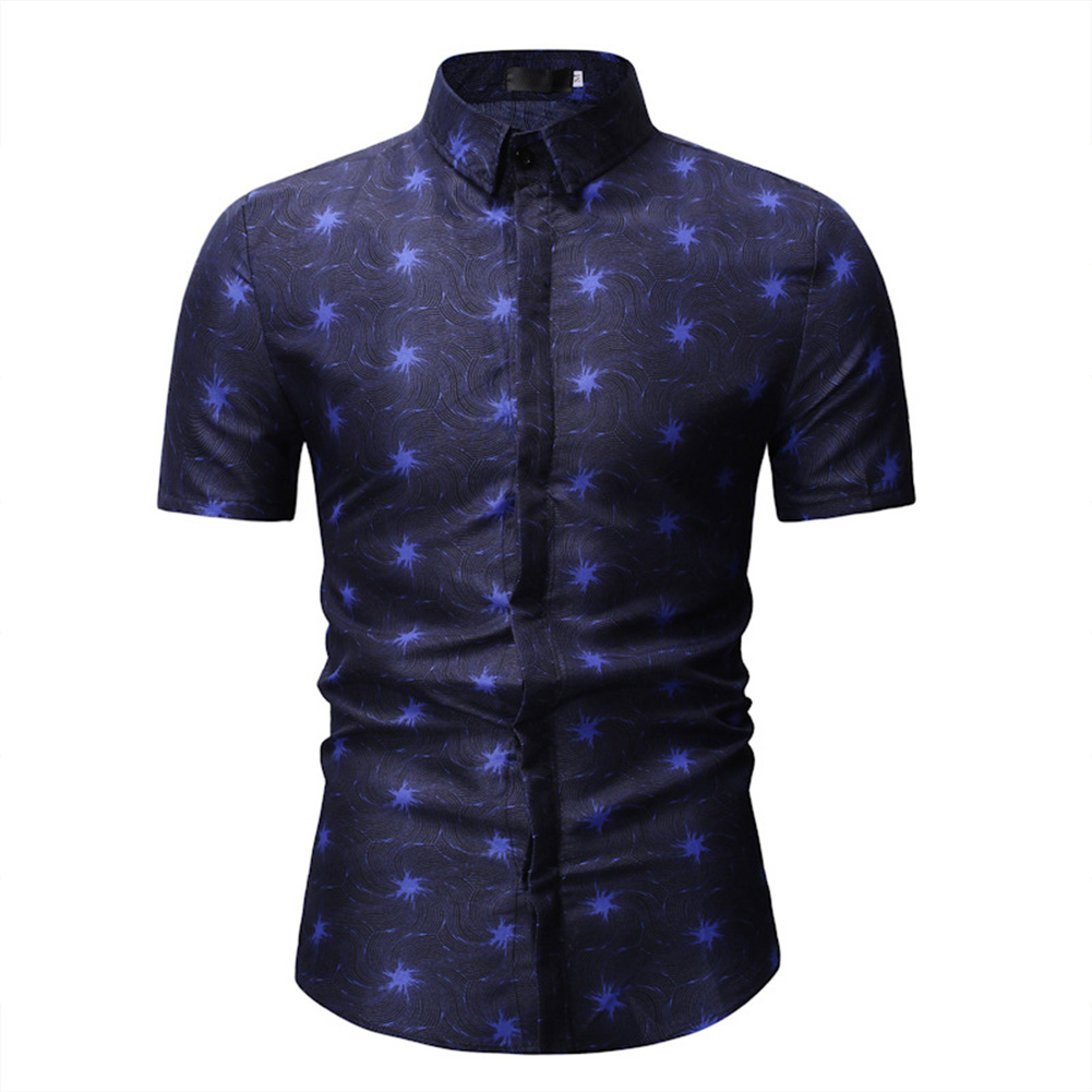 Men Short Sleeve Slim Leisure Printing Shirt blue_2XL