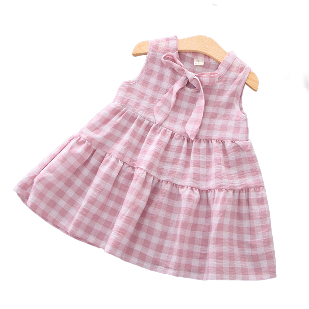 Girls Dress Cotton Sleeveless Plaid Skirt for 0-3 Years Old Kids Pink_S