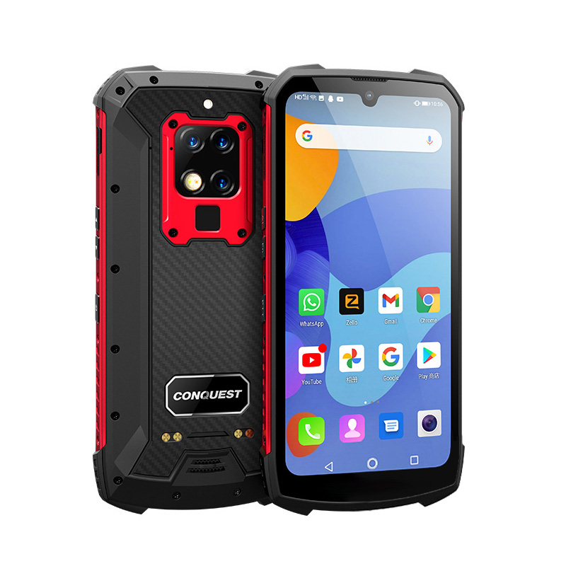 Original CONQUEST S16 Rugged Smartphone Ip68 Shockproof Waterproof Android Wifi Mobile Phones 8+128GB red