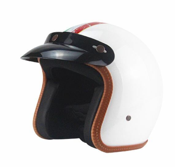 Motorcycle Helmet Retro Universal Motorbike Helmet Motorcycle 3/4 Half Helmet White #A XL
