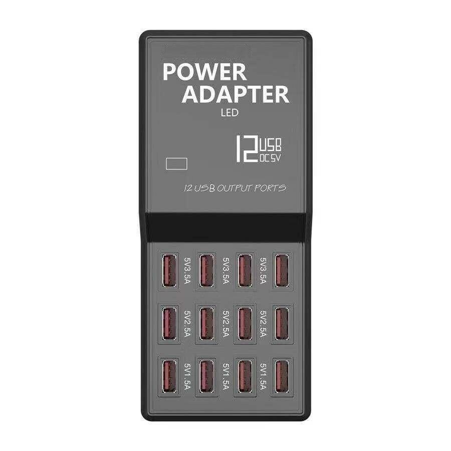 Multi 12 Port USB Charging Station Hub Desktop Wall Cell Phone Charger Organizer EU plug