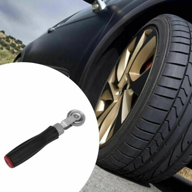 Portable Auto Car Tire Repair Tool Metal Compaction Roller with Rubber/Wooden Handle 7mm Cold-repairing Film Automobiles Wheel Tyre Repair Tool Rubber handle