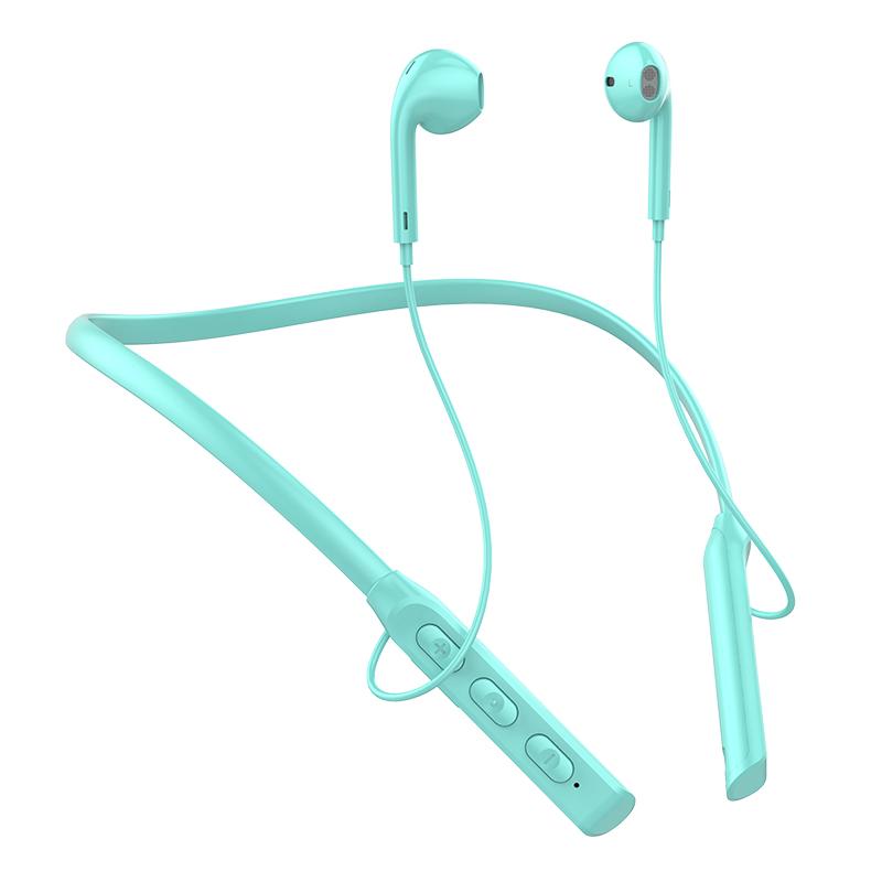 Wireless Sports Earphone Hanging Neck Bluetooth 5.0 In-ear Headphone Neck-style Magnetic Bluetooth Headset Blue