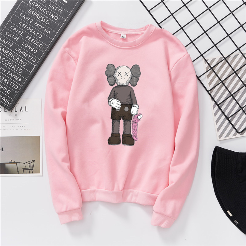 Unisex Fashion Casual Kaws Long Sleeved Blouses Plush Warm Round Collar Tops Pink_2XL