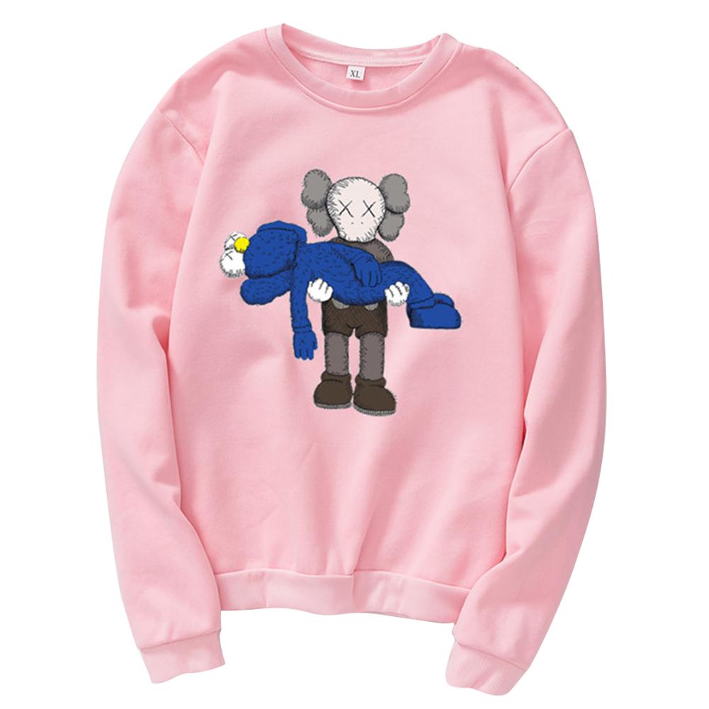 Men Women Loose Cute Cartoon Printing Round Collar Fleece Sweatshirts Pink_M