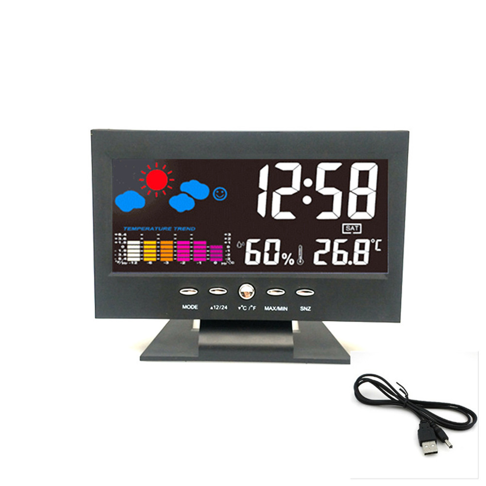Electronic Alarm Clock Led Color Screen Temperature and Humidity Intelligent Voice Control Weather Forecast Clock Black host + USB_14.5*11*5.5cm