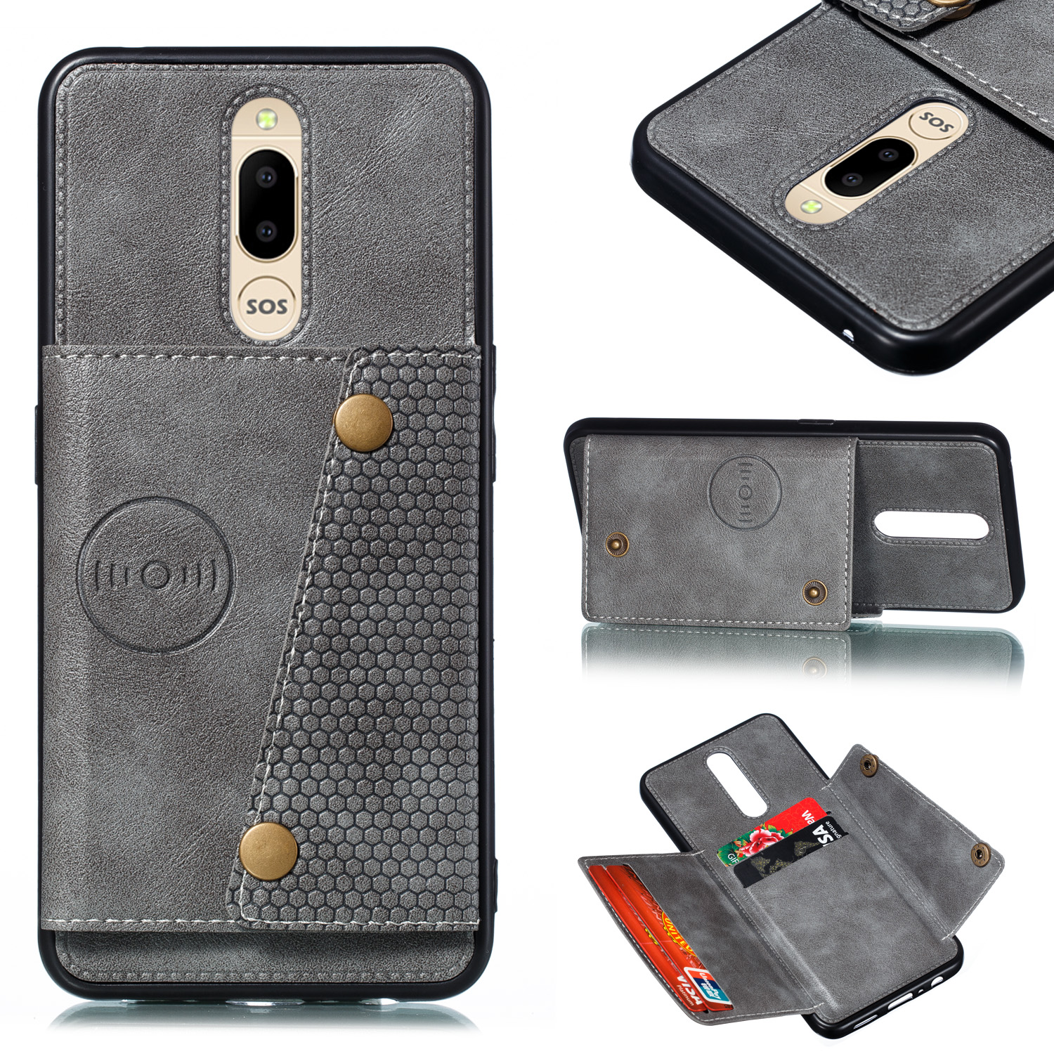 For OPPO F11 PU Leather Flip Stand Shockproof Cell Phone Cover Double Buckle Anti-dust Case With Card Slots Pocket gray