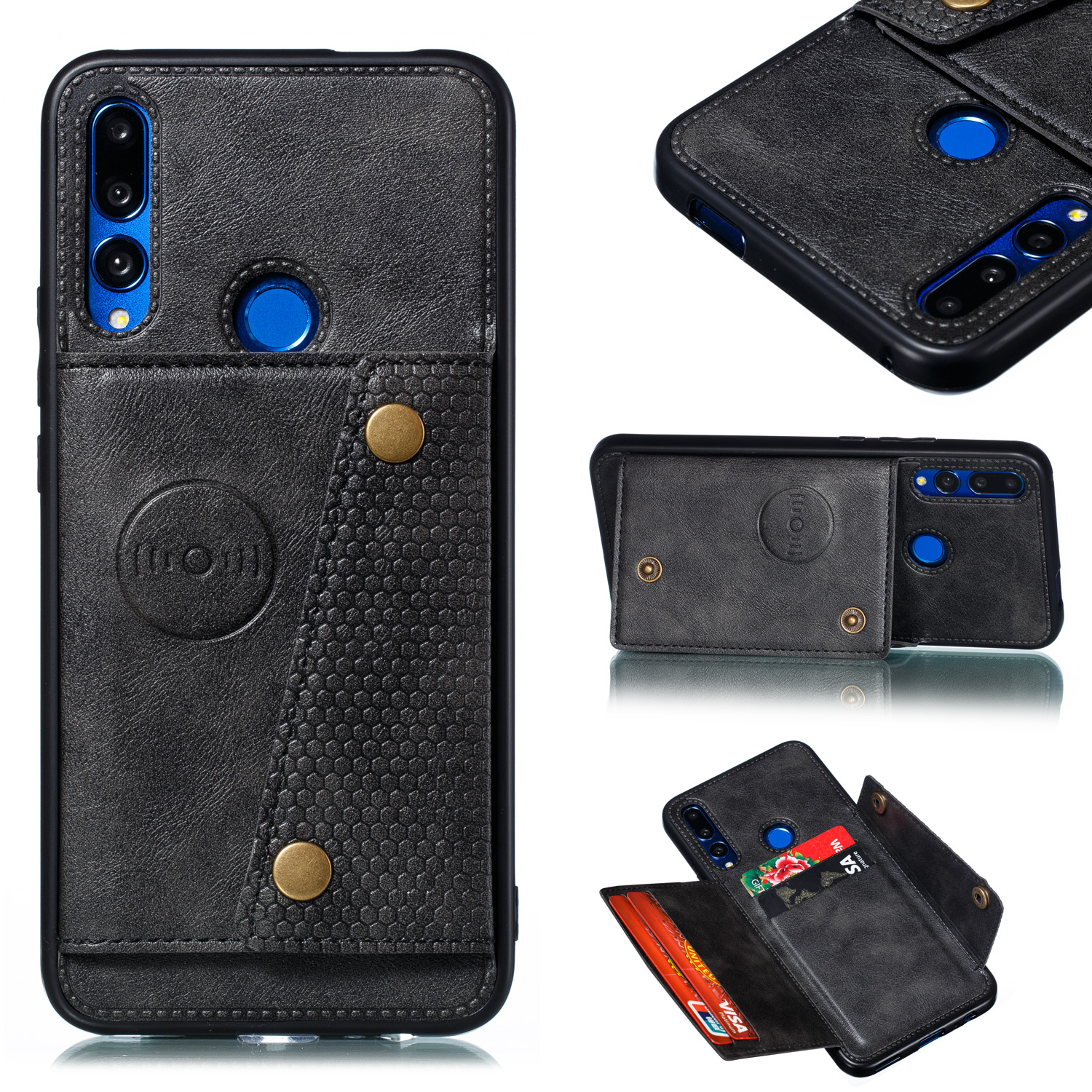 For HUAWEI Y9 prime 2019 PU Leather Shockproof Cell Phone Case Anti-dust Phone Case with Double Buckle Card Slot Pocket  black