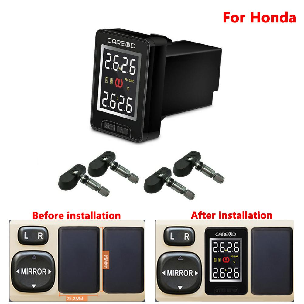 U912-TJ For Honda Car Wireless TPMS Tire Pressure Monitoring System Built-in Sensor LCD Display Embedded Monitor black