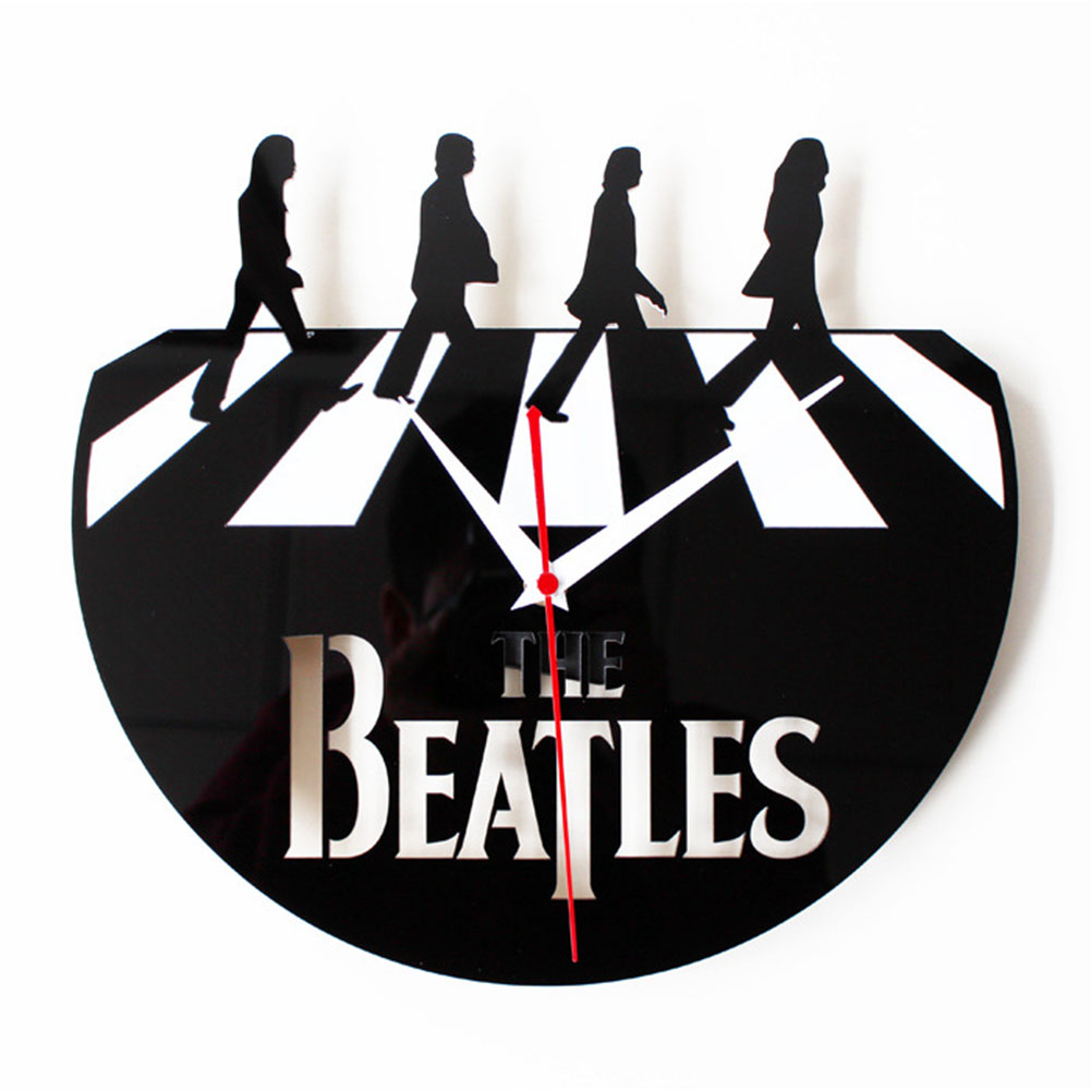 Stylish Creative Retro CD Vinyl Record Albums Film Wall Clock with Beatles Pattern Decoration Gift black