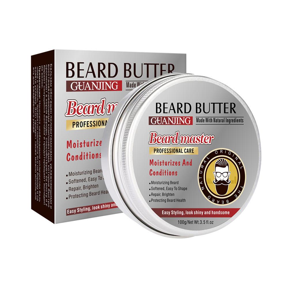 Natural Beard Conditioner Beard Balm For Beard Growth Organic Moustache Wax For Beard Smooth Styling 100G