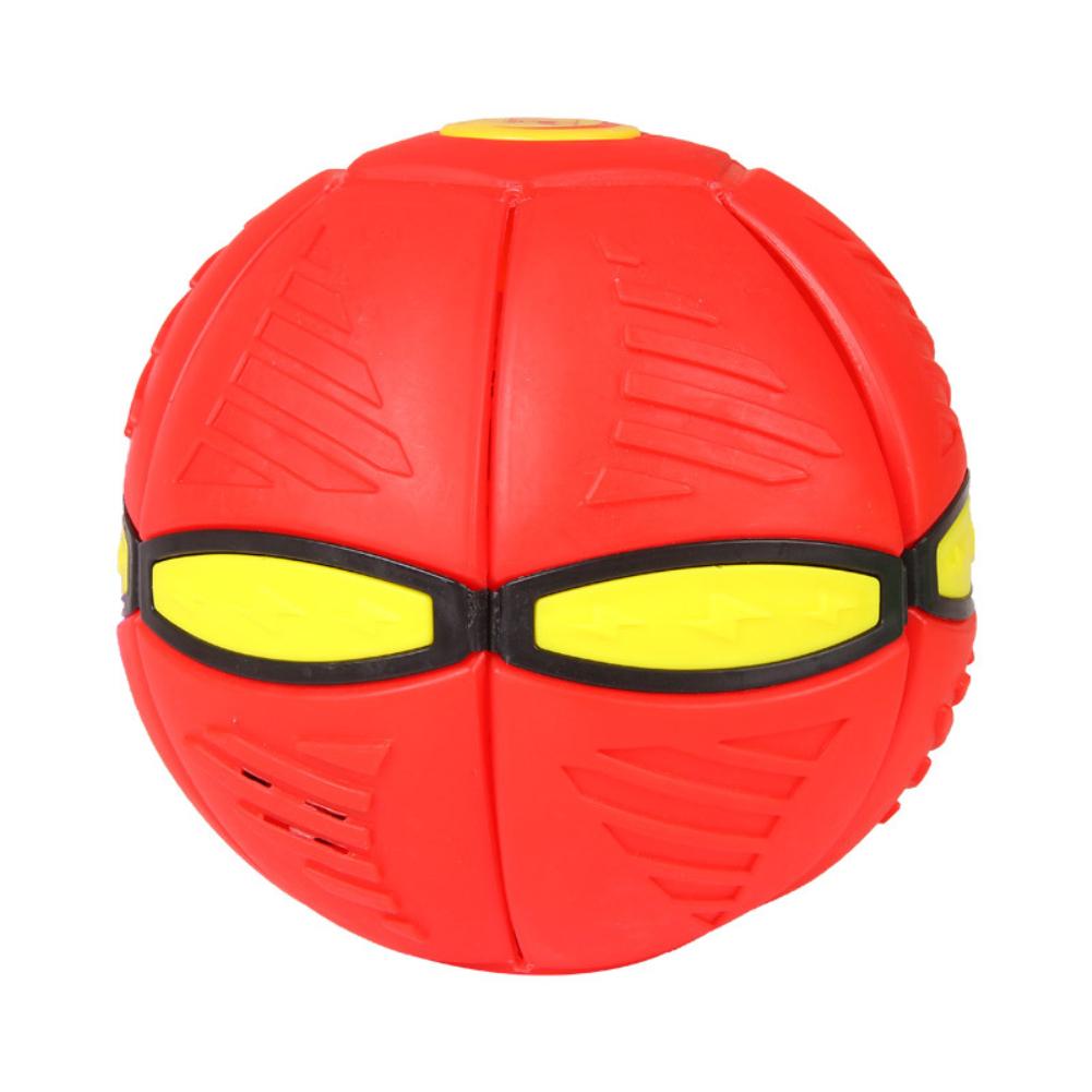Magic  Flying  Saucer  Ball Deformation Ball Led Light Music Elastic Vent Ball Gift For Kids Red