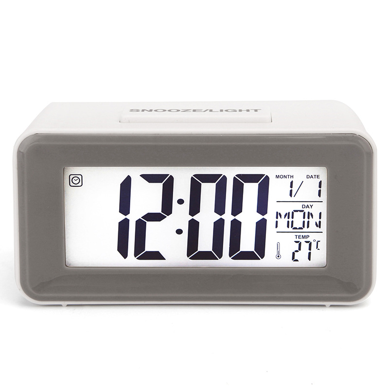 Alarm  Clock Plastic Mini Smart Voice-activated Electronic Clock With Digital Display gray