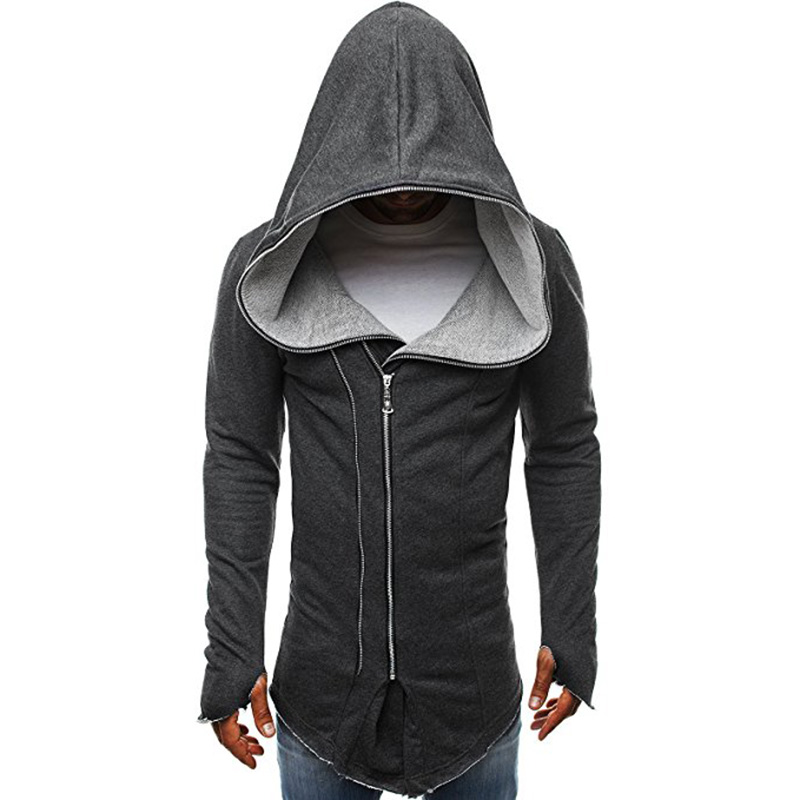 Men Dark Cloak Design Hoodie Fashionable Warm Hooded Pullover Top with Zipper Closure Dark gray_M