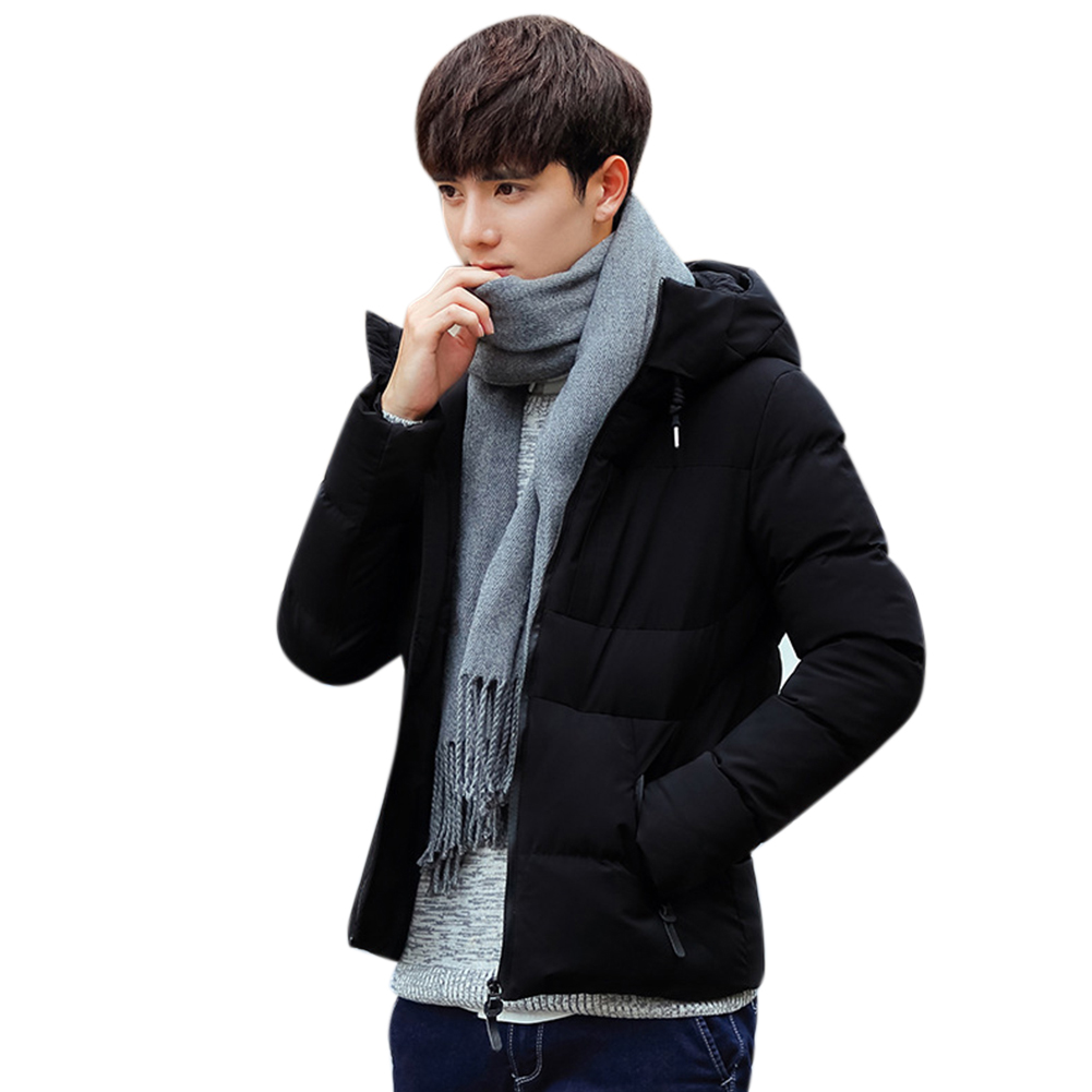 Men Solid Color Winter Coat Hooded Short Thicken Winter Warm Coat Cotton Jacket black_XXL