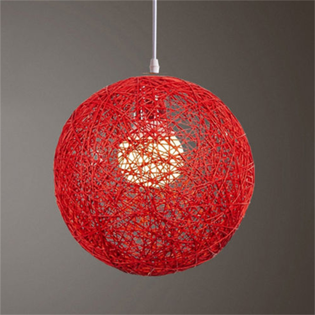 Round Concise Hand-woven Rattan Vine Ball Pendant Lampshade Light Lamp Shades Light Accessories(15cm Diameter) Red + accessories (lamp holder, wire)