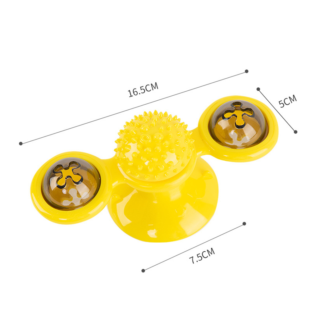 Pet  Cat  Dog  Toy Turntable Windmill Ball Spinning Funny Interactive Pet Massage Toys Spinning windmill toy-yellow