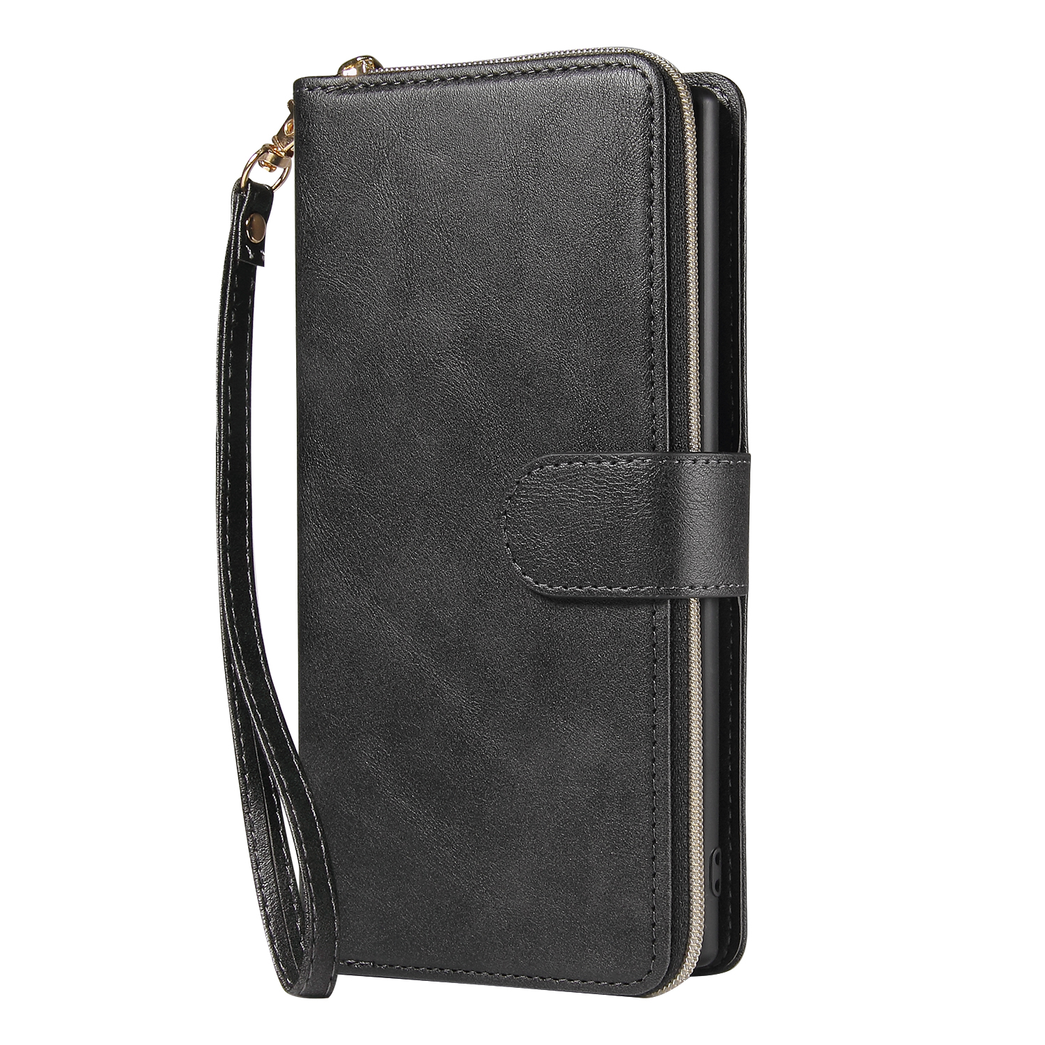 For Samsung A51 5G/A71 5G/Note 10 pro Pu Leather  Mobile Phone Cover Zipper Card Bag + Wrist Strap black