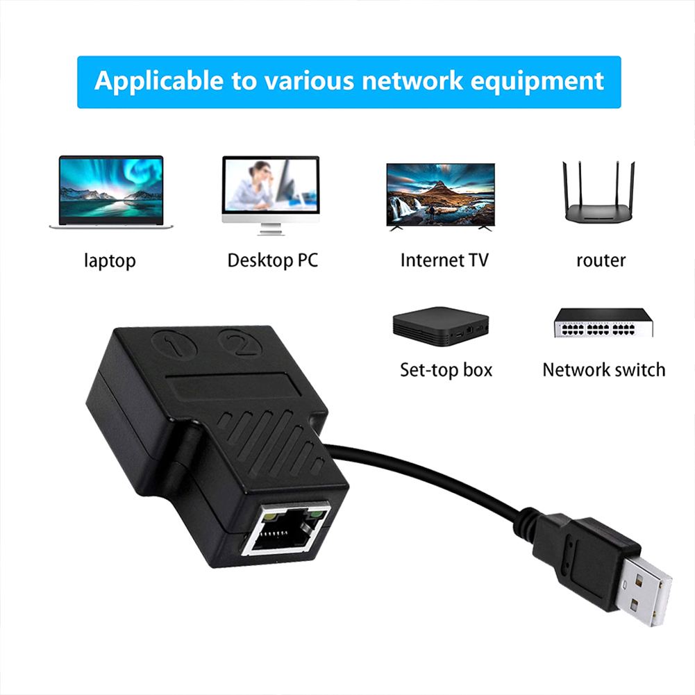 Ethernet  Splitter 1 To 2 Cat7 Rj45 Deconcentrator Simultaneously Access Two Computers Splitter Black