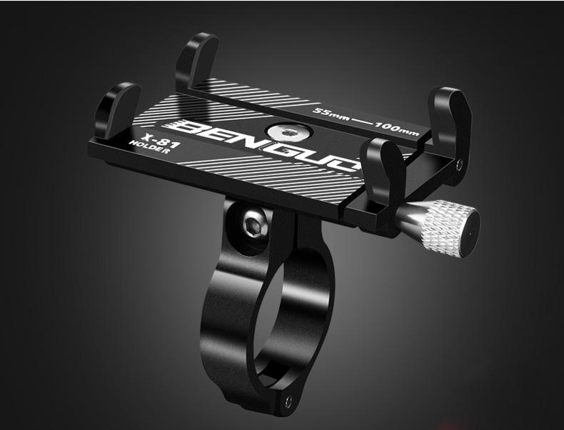 [Indonesia Direct] Aluminum Alloy Motorcycle Bike Bicycle MTB Handlebar Cell Phone GPS Holder Mount black