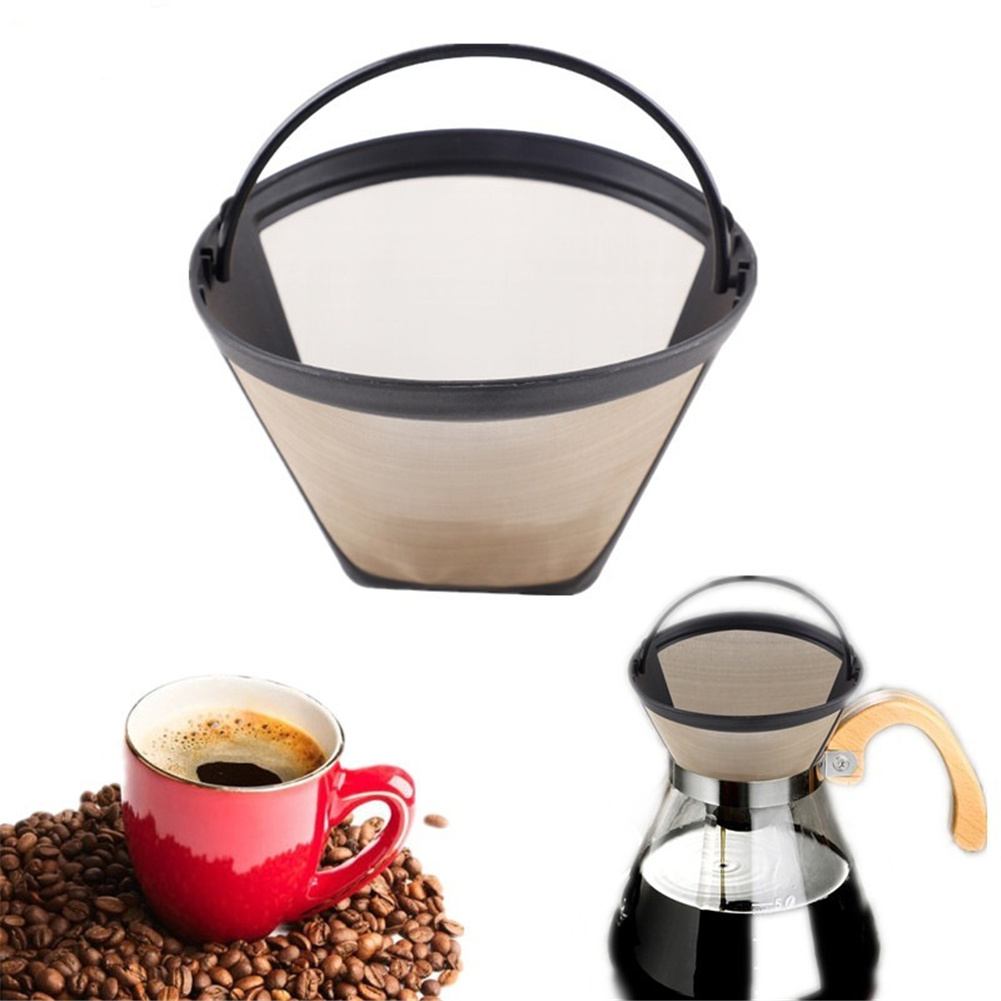 Drip  Coffee  Filter Cone Mesh Cafe Maker Machine Tool Reusable Coffee Filter Yellow