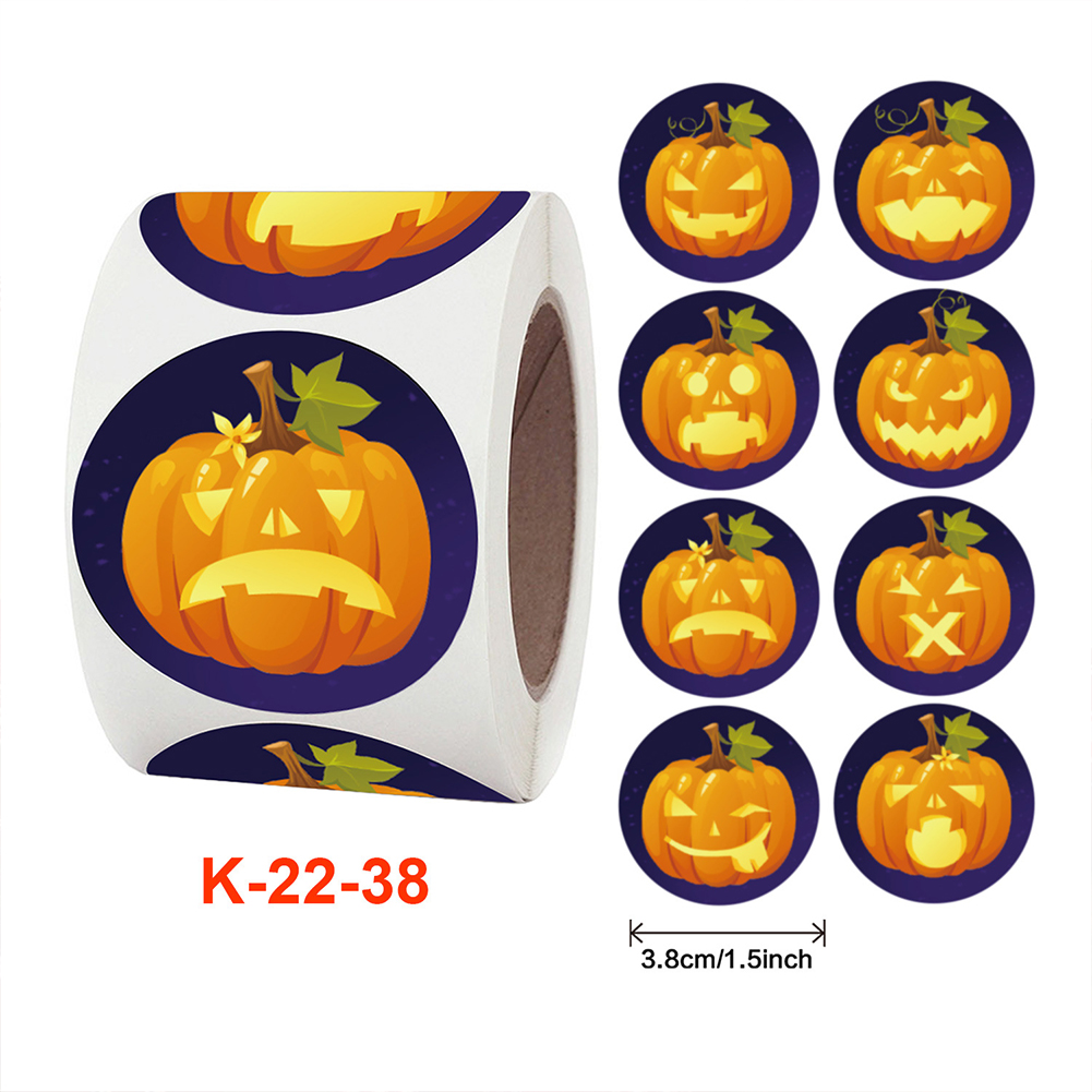 500pcs/roll Self-adhesive Label Sticker Halloween Pumpkin Pattern Candy Wrapping  Paper K-22-38_3.8cm / 1.5inch