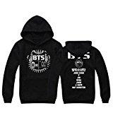 BTS Bangtan Boys Black Hoody Sweater Pullover (BTS Cap, XL)