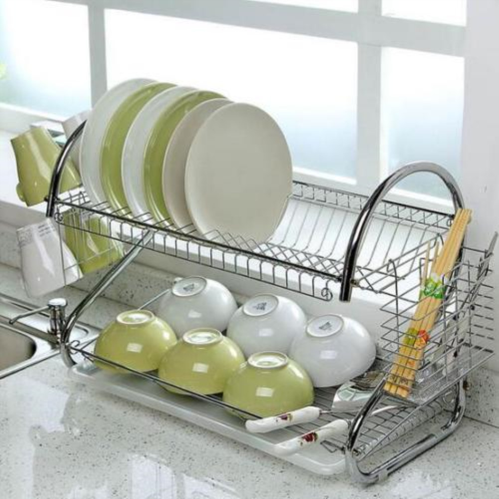 2-Layer Dish Drainer Drying Rack for Kitchen