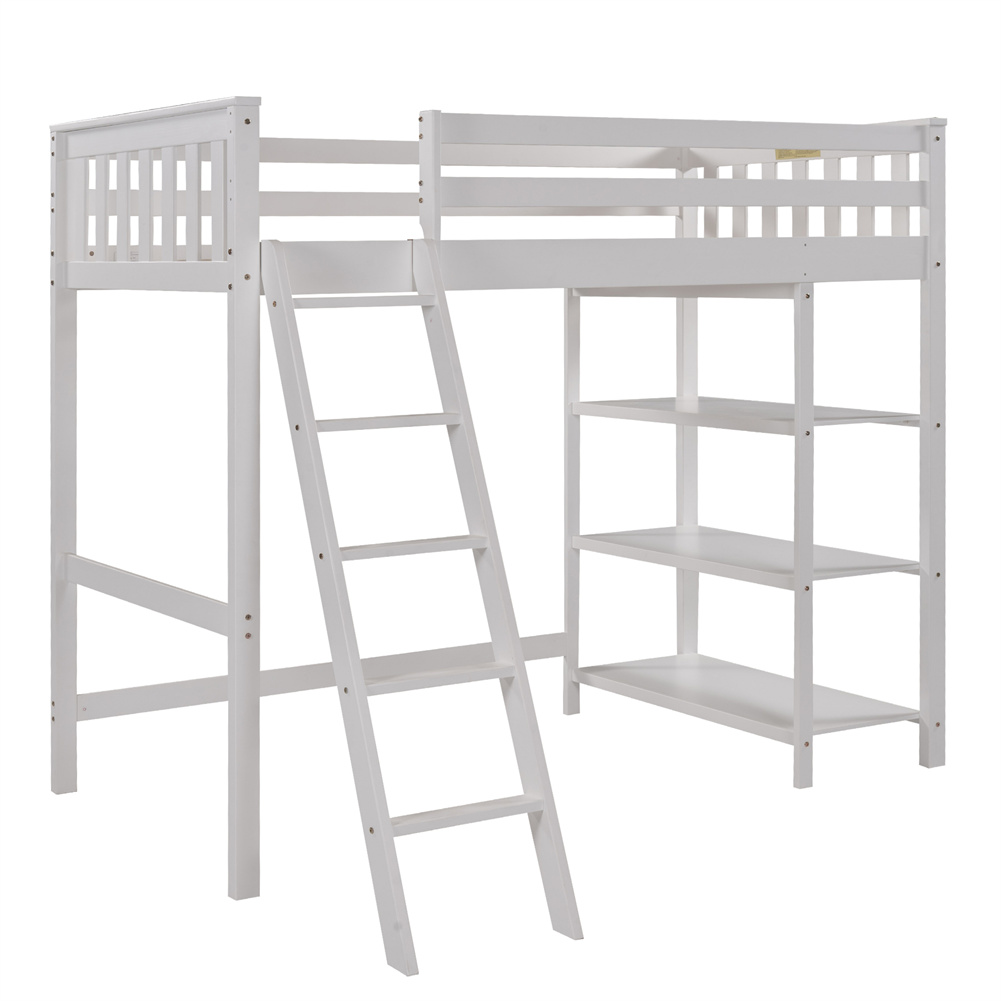 [US Direct] Loft  Bed With Storage Shelves Pine Wooden Twin Bunk Bed Household Furniture White