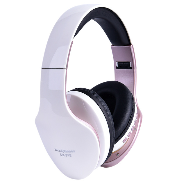 Wireless Headphones Bluetooth Headset Foldable Stereo Headphone Gaming Earphones Support TF Card with Mic for PC All Phone Mp3 white