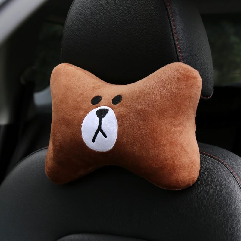 Car Cartoon Headrest Neck Pillow Comfort Cushion Neck Pillow Cushion Cute Cartoon Car Seat Headrest Car Supplies brown bear