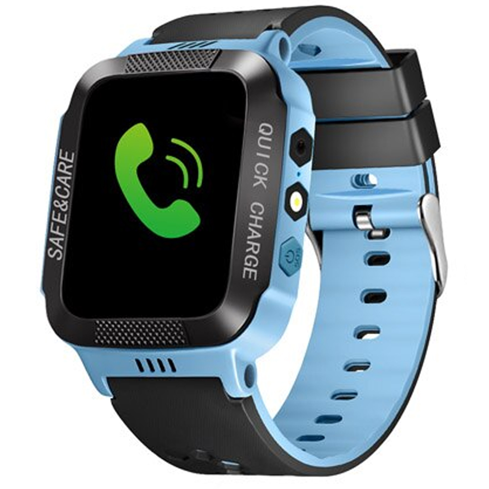 Anti-lost Child Kid Smartwatch Positioning GPS Wristwatch Track Location SOS Call Safe Care Y21 touch screen + camera black and blue