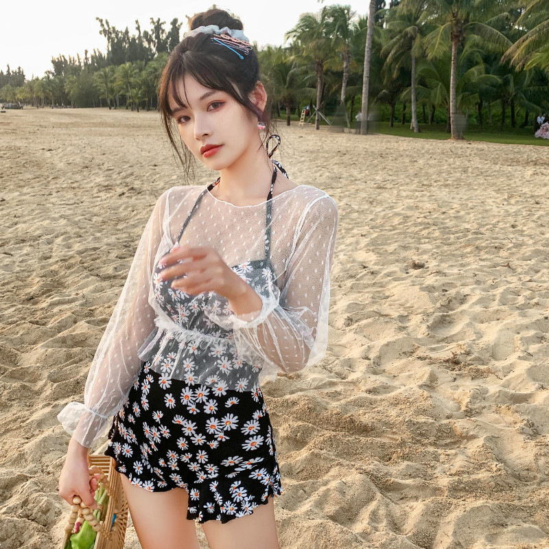 2 Pcs/set Women Swimming Suit Sexy Printing Swimsuit+ Overall black_Int:L
