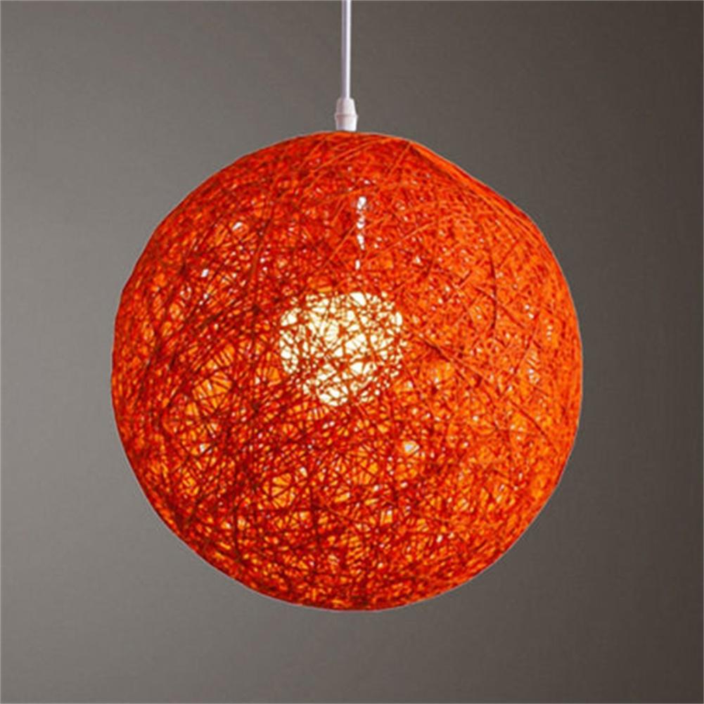 [EU Direct] Round Concise Hand-woven Rattan Vine Ball Pendant Lampshade Light Lamp Shades Light Accessories(15cm Diameter) Orange